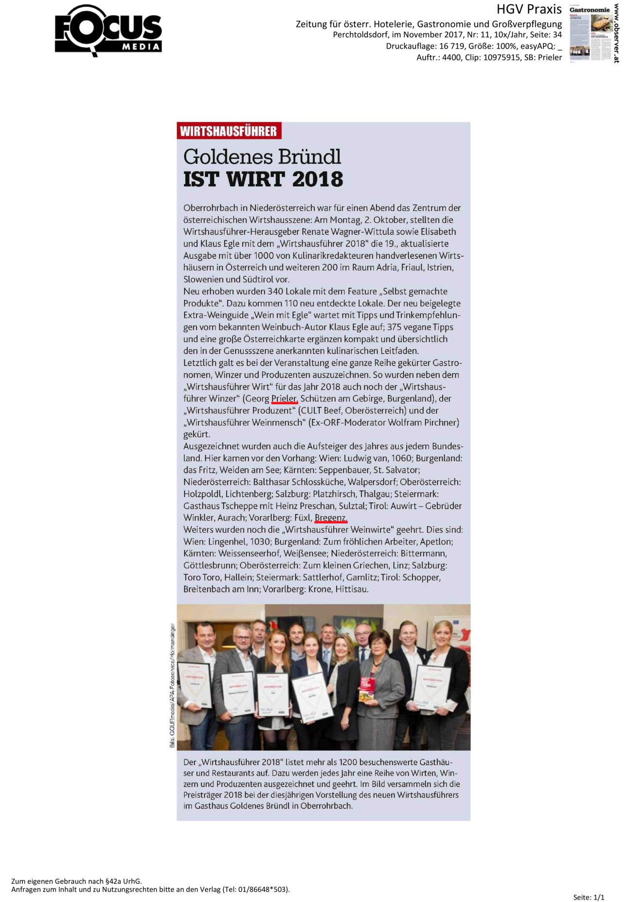 Wirtshausführer – Winzer des Jahres 2018