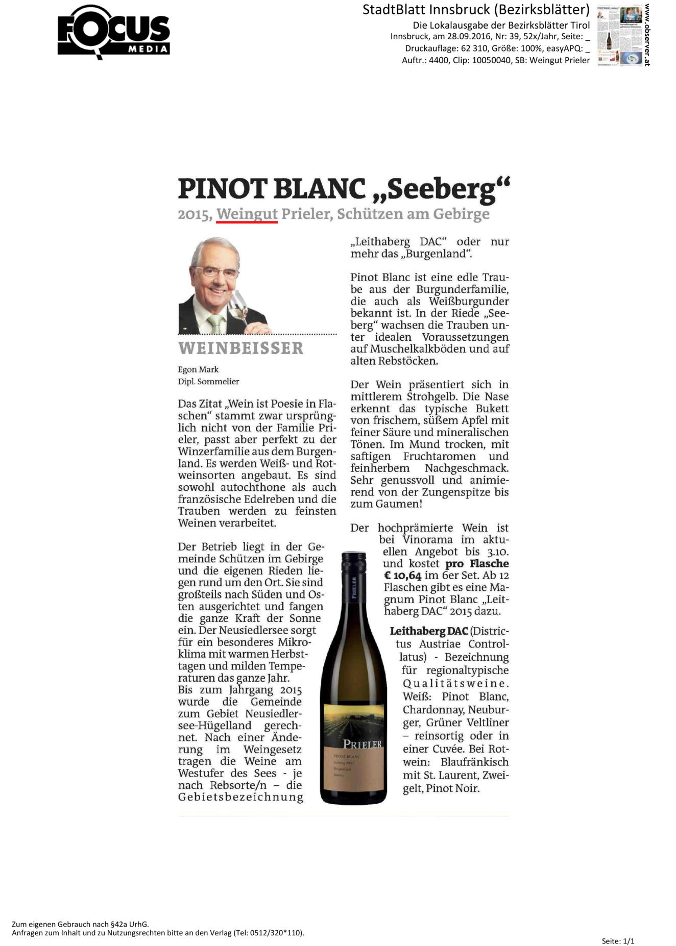 Pinot Blanc Seeberg 2015