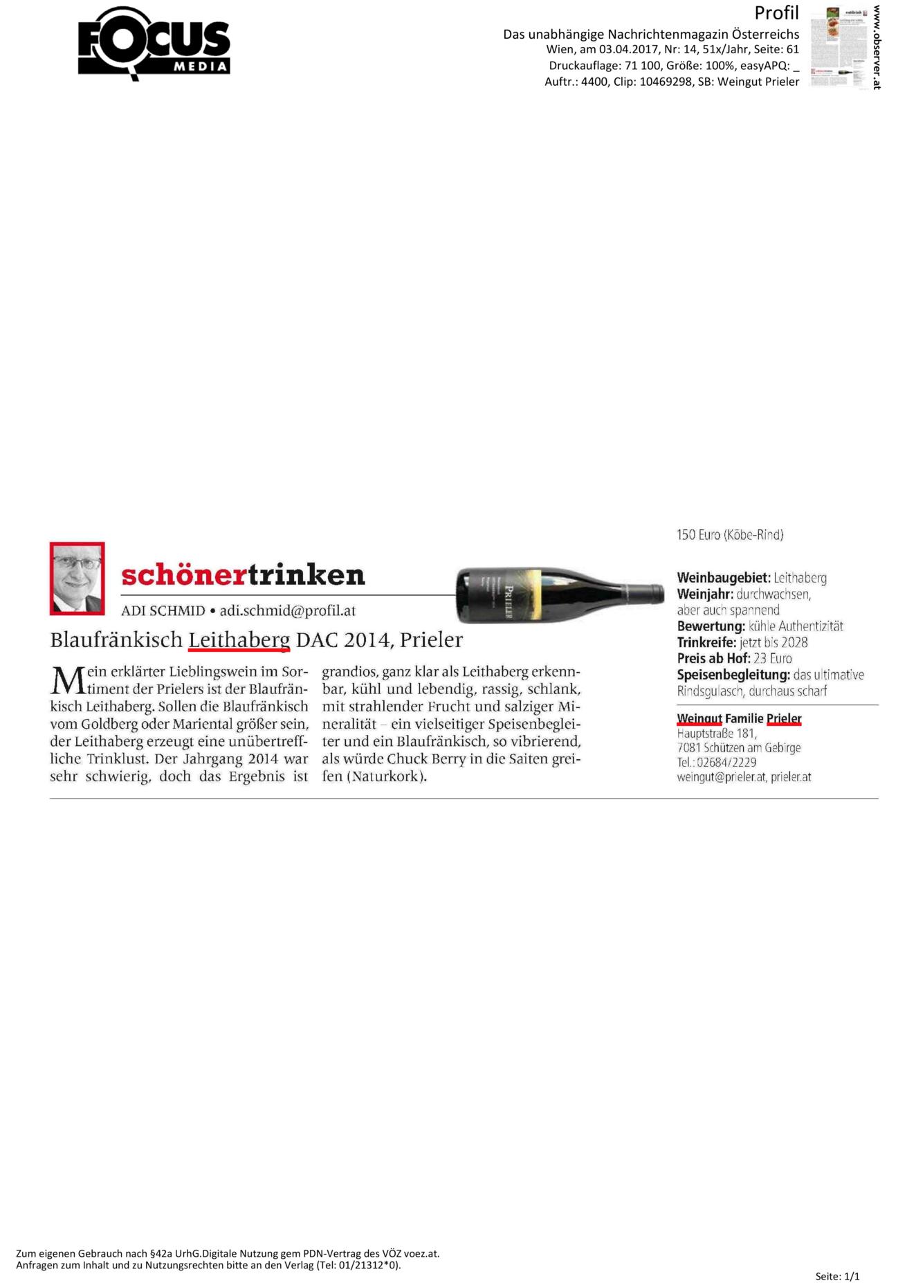 schönertrinken – Blaufränkisch Leithaberg DAC 2014