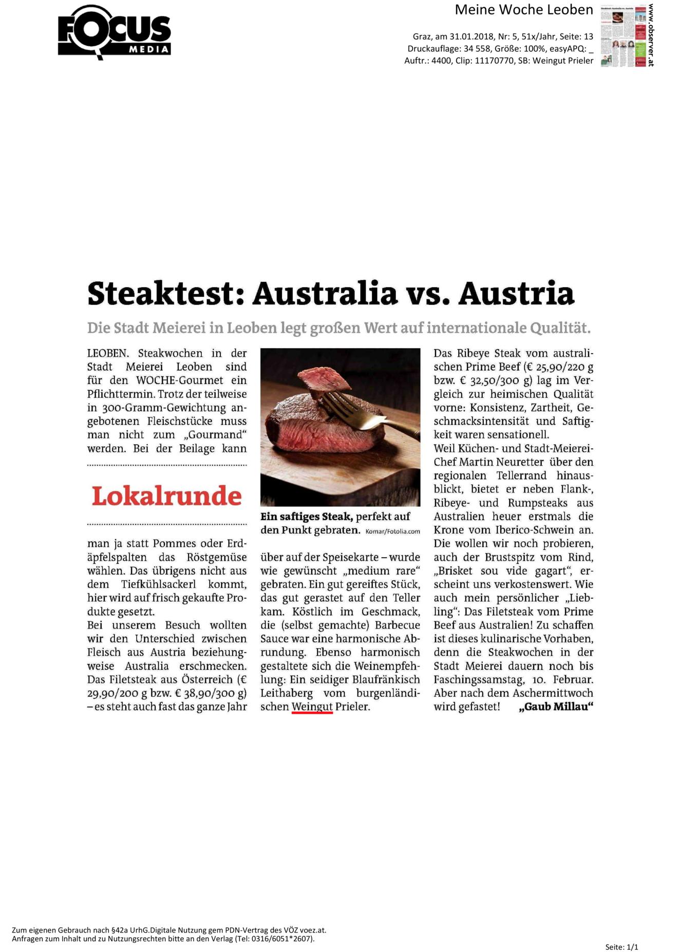 Steaktest: Australia vs. Austria