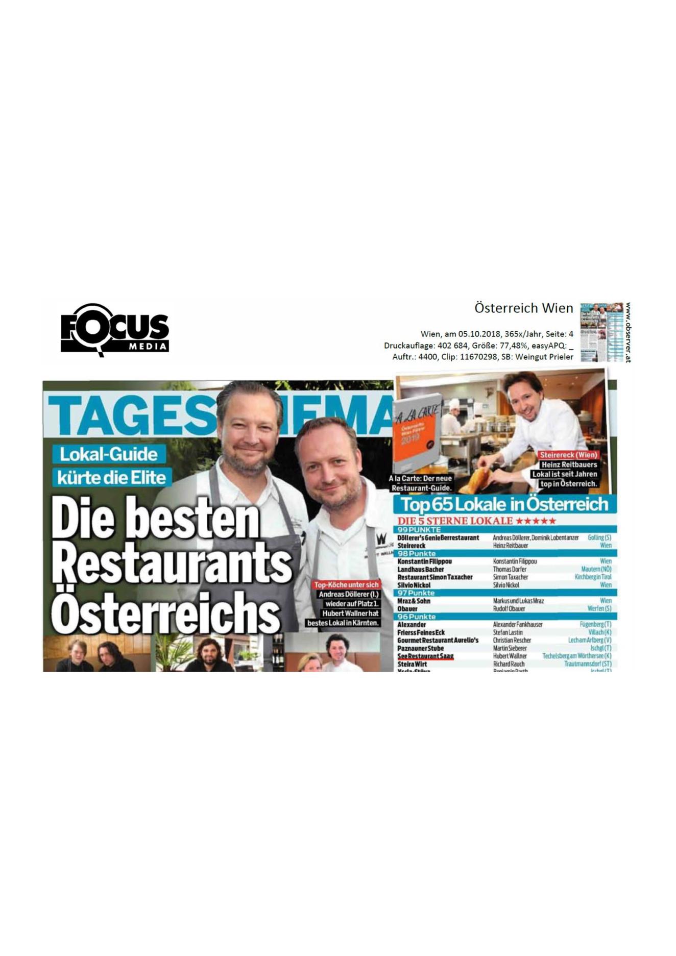 Die besten Restaurants und Weine Österreichs