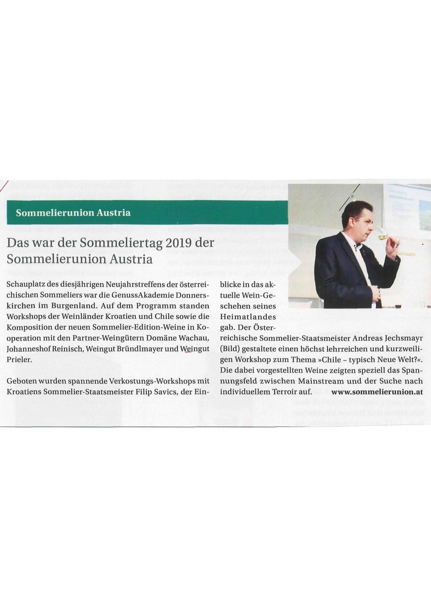 Sommelierunion Austria-Sommerliertag 2019
