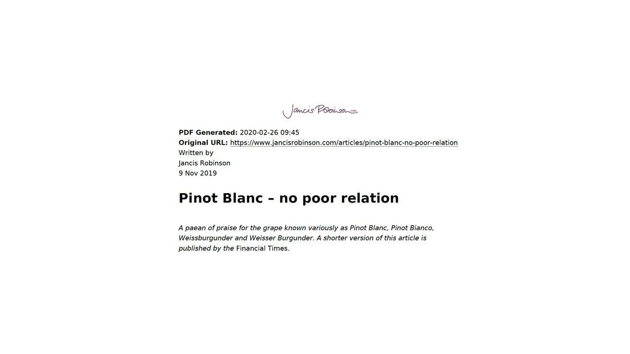 Pinot Blanc – no poor relation