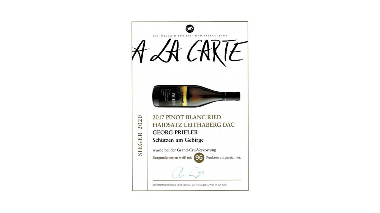A la Carte – Grand Cru Verkostung – Burgundersorten weiß