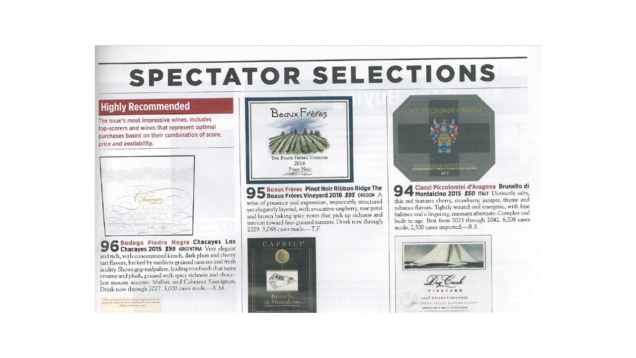 Wine Spectator Selections